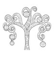 adult coloring bookpage a tree with christmas vector image vector image