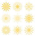big set of retro sun burst shapes vintage logo vector image vector image