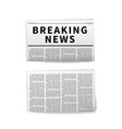 breaking news folded newspaper realistic icons on vector image