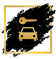 car key simplistic sign golden icon at vector image vector image