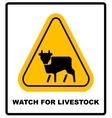 Cow Warning sign yellow Farm Hazard attention vector image vector image