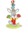Easter Bunny juggler vector image vector image