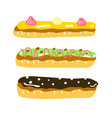 eclair dessert sweet french food vector image vector image
