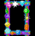 frame with cute kawaii crystals or gems vector image