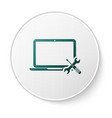 green laptop with screwdriver and wrench icon vector image vector image