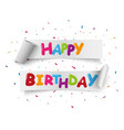 happy birthday celebration banner with colorful vector image vector image