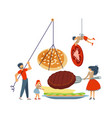 happy happy family cooking together a hamburger vector image vector image