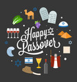 happy passover poster pictogram with moses vector image vector image