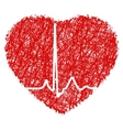heart scribble with heart beat eps 8 vector image vector image