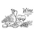 jug wine cheese sweets and glasses sketch vector image vector image