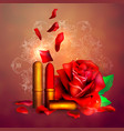 lipstick and flowers background for banner vector image vector image
