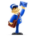 mail carrier with bag and vector image