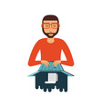 man with laptop computer and paper receipt vector image vector image