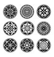 Mandala elements tattoo icon set Star floral vector image vector image