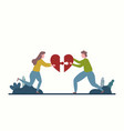 men and women who assemble puzzle in heart for vector image vector image