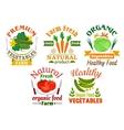 Natural vegetables cartoon badges set vector image vector image