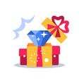 open box surprise gift and diamond vector image vector image