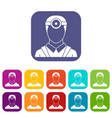 ophthalmologist with head mirror icons set vector image vector image