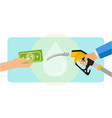 paying gasoline fuel with dollar currency vector image