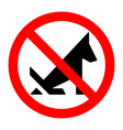 poop dog stop prohibition sign black silhouette vector image vector image