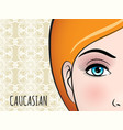 poster design with caucasian woman face vector image vector image