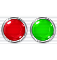 Red and green transparent button vector image vector image
