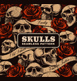 seamless background with skulls vector image vector image