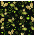 Seamless dark floral pattern with gold butterflies vector image
