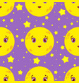 seamless pattern of cartoon smiling moon with vector image
