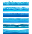 seamless water ocean and river layers for ui game vector image vector image