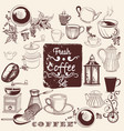 set hand drawn coffee elements for design vector image vector image