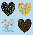 set of floral romantic hearts vector image