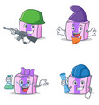set of gift character with army elf professor vector image