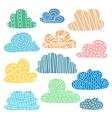 Set of hand drawn clouds with cute texture vector image vector image