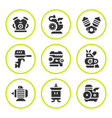 set round icons of motor and engine vector image vector image