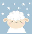 sheep lamb sleeping face head iconcute cartoon vector image vector image