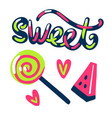 sweet stickers candy and watermelon vector image