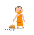 thai monk put face mask virus protection vector image
