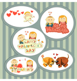 valentines day set stickers vector image vector image