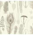 Vintage set feathers Seamless pattern Hand vector image