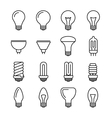 Light bulb outline icons vector image