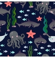 seamless pattern with cute sharks fish vector image