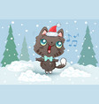 a cute cat in santa hat for vector image vector image