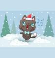 a cute cat in santa hat vector image vector image