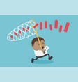 african businessmen chasing partner graph vector image