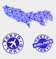 air plane mosaic tokyo prefecture map and vector image vector image
