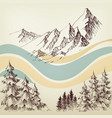 alpine landscape valley and pine forest sketch vector image vector image