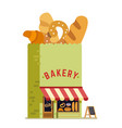 bakery shop house bag building vector image vector image