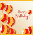 birthday poster with balloons in red orange design vector image vector image