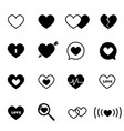 black heart icon set vector image vector image